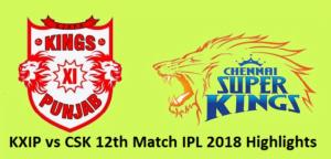 KXIP vs CSK 12th Match IPL 2018 Highlights