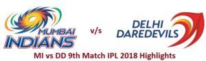 MI vs DD 9th Match IPL 2018 Highlights