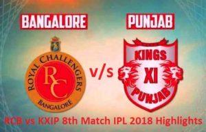 RCB vs KXIP 8th Match IPL 2018 Highlights